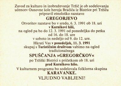 1991 Gregorjevo 91 vabilo 3b