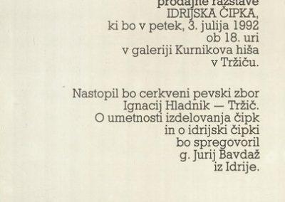 1992 Idrijska čipka vabilo 3b
