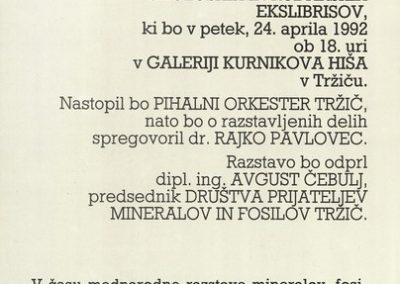 1992 Mednarodna razstava geoloških in rudarskih ekslibrisov vabilo 3b