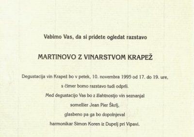 1995 Martinovo z Vinarstvom Krapež Vrhpolje vabilo 3b