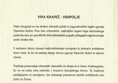 1995 Martinovo z Vinarstvom Krapež Vrhpolje vabilo 3c