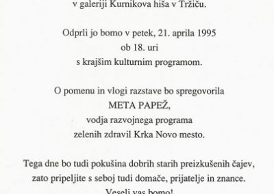 1995 Rože Vir lepote in zdravja vabilo 3b