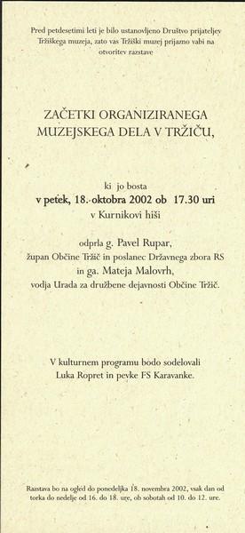 2002 Začetki organiziranega muzejskega dela v Tržiču vabilo 3b