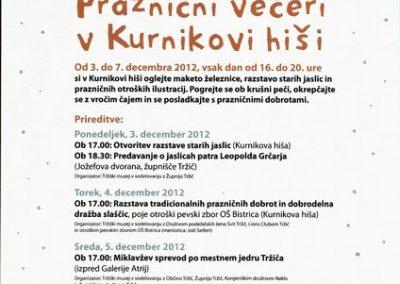 2012 Praznični večeri v Kurnikovi hiši vabilo 3