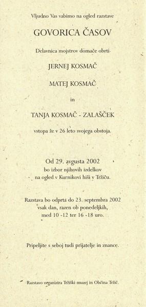 Delavnica mojstrov domače in umetnostne obrti Kosmač 2002 Govorica časov vabilo 3b