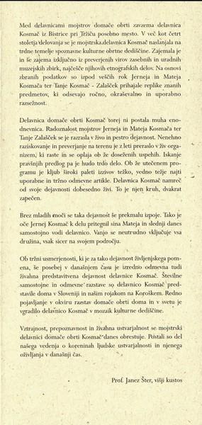 Delavnica mojstrov domače in umetnostne obrti Kosmač 2002 Govorica časov vabilo 3c