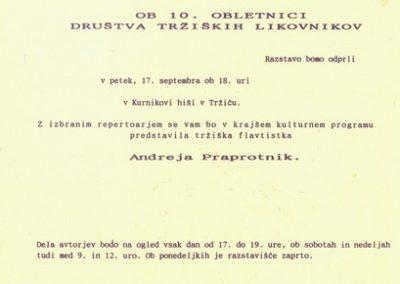 Društvo tržiških likovnikov 1993 10 obletnica Društva tržiških likovnikov vabilo 3b