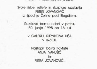 Jovanovič Peter 1995 Pesem v rezbarjevih očeh vabilo 3b