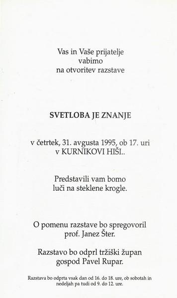Kosmač Jernej in Matej 1995 Svetloba je znanje vabilo 3b