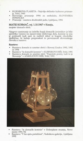 Kosmač Jernej in Matej 1995 Svetloba je znanje vabilo 3e