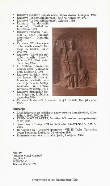 Kosmač Jernej in Matej 1995 Svetloba je znanje vabilo 3f
