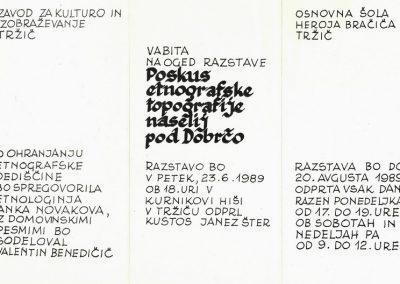 OŠ Heroja Bračiča Tržič 1989 Poskus etnografske topografije naselij pod Dobrčo vabilo 3