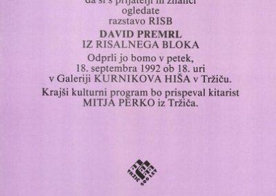 Premrl David 1992 Iz risalnega bloka vabilo 3b