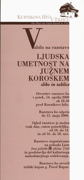 Tuschar Hans M 2000 Ljudska umetnost na Južnem Koroškem slike in tablice vabilo 3a