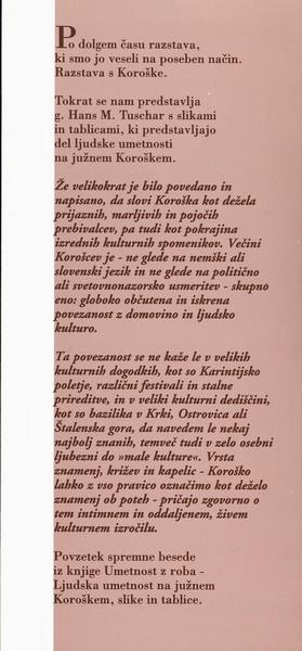 Tuschar Hans M 2000 Ljudska umetnost na Južnem Koroškem slike in tablice vabilo 3b